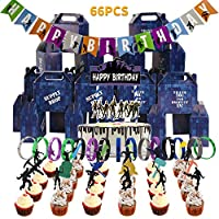 Birthday Party Supplies for Game Fans-include 24 PCS Party Drop Box,24 PCS Cake Topper,15 PCS Gaming Themed Bracelets,2 PCS Banner and 1 PCS Birthday Cake Toppers