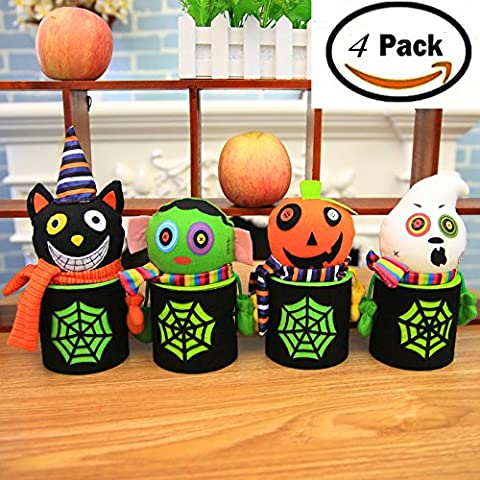 4 Pack Halloween Candy Bags Buckets Trick or Treat Sweet