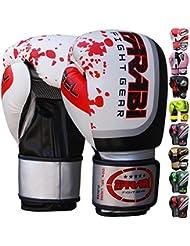Guantes de boxeo Farabi de 10oz 12oz 14oz 16oz para hombre, guantes de boxeo para entrenamiento, sparring, saco de boxeo, Muay Thai y Kick Boxing, MMA, artes marciales, blanco