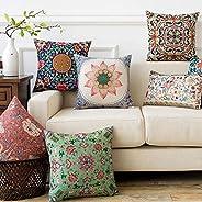 AEROHAVEN Satin Turkish Designer Decorative Throw Pillow/Cushion Covers Set of 5 (16 x 16 Inch, Multicolor)
