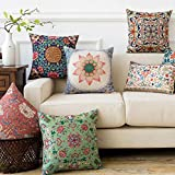 AEROHAVEN Satin Turkish Designer Decorative Throw Pillow/Cushion Covers Set of 5 (16 x 16 Inch, Multicolor)