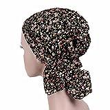 ZYCC Sombrero unisex de la bufanda de la cabeza Bandana algodón impreso Turbante Headwear para el cáncer, la quimioterapia, la pérdida del pelo (Negro)