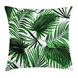 Animal Throw Pillow Cushion Cover, Hand Sketch Swan Bird Floral Details and Color Splashes Watercolors, Decorative Square Accent Pillow Case, 18 X 18 Inches, Mint Green Light Pink Black