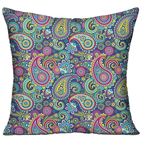tgyew Navy and Blush Old Fashioned Eastern Floral Paisley Motif Vintage Oriental Elements Decorative Pink Blue Yellow Apartment Decor Throw Pillow Cover 18