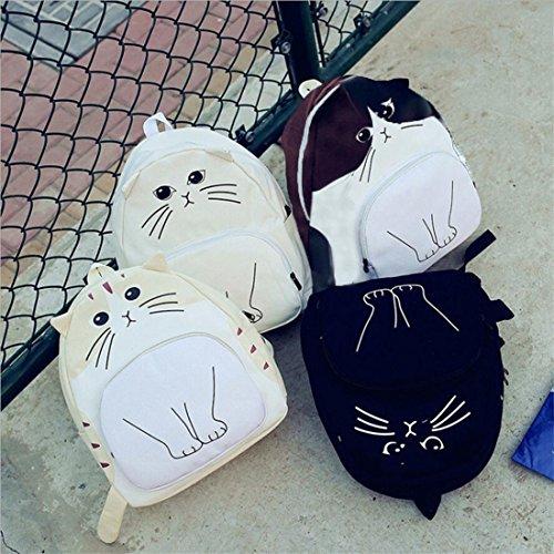 Lovely Cat Taschen, brezeh Druck Frauen Canvas Rucksack Schulranzen Damen Casual Staubbeutel Einheitsgröße beige weiß