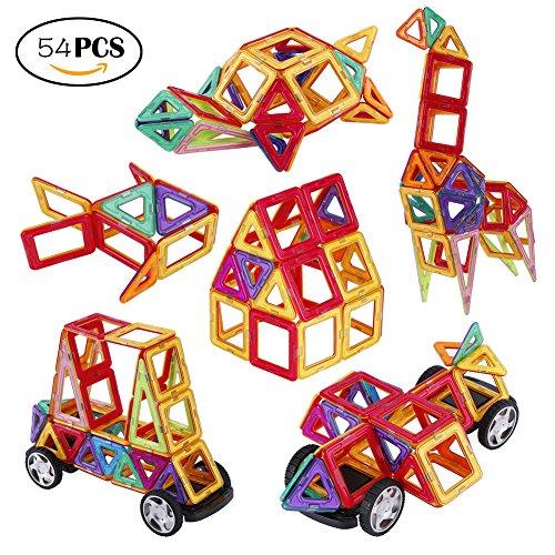 Bloques de Construcción Magnéticos ,Slopehill Juego de Bloques 54 Piezas Magnéticas Juguetes Creativos y Educativos para Niños Más de 3 Años Aprender Colores y Formas ,Regalo Cumpleaños Navidad Viene con Caja de Almacenamiento