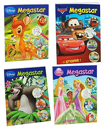 Unbekannt 1 Stück: Malheft A4 / Dickes Malbuch mit 25 Sticker - 128 Seiten - für Mädchen - große Malvorlagen - Disney Cars - Princess - Tiere - Bambi - König der Löwen ..