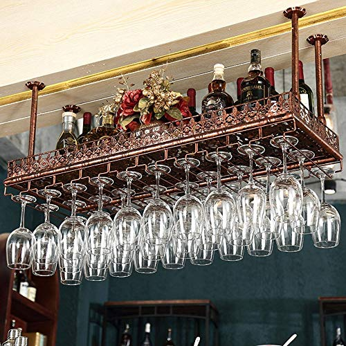 SED Haushalt Weinregal Becherhalter - einstellbare Höhe Decke montiert hängenden Weinflaschenhalter Metall Eisen Wein Glas Rack Becher Stemware Racks Vintage-Stil Dekoration Anwendung - Verschiedene -