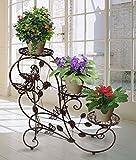 HLC 3 Töpf Metall Blumentänder Pflanzer Blumentreppe,stufenförmig Farbe: Bronze