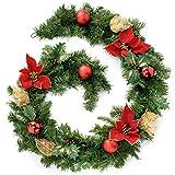WeRChristmas - Ghirlanda natalizia decorativa, 180 cm, colore rosso/oro
