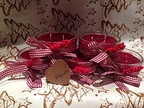 5 vasetti con candele rosse natalizie profumate a due stoppini _ultimo rimasto!!!_ – idea regalo o decorazione natale