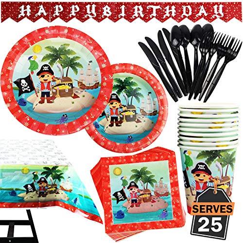 Kompanion 142-teiliges Piraten Party Teller Set mit Banner, Tellern, Tassen, Servietten, Tischtüchern, Löffel, Gabeln und Messern für 20 Personen