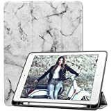 iPad 9.7 2018 Case with Apple Pencil Holder[Free Stylus Pen], Ultra Lightweight Trifold Stand Wallet Cover [Auto Wake/Sleep] for Apple iPad 9.7 2018/ 2017/ Air 2/ Air/ Pro 9.7 2016, Marble Black/Grey