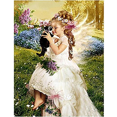 Kingko® DIY 5D Painting Cross Stitch Cat &Tiger, Butterfly Flowers, Angel Girl, Swan Sticker Couple Rhinestone Diamond Embroidery Painting Cross Stitch Home Decor Craft (G)