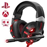 Casque Gaming PS4, ONIKUMA Anti Bruit Micro Casque Gamer avec Rouge LED Lampe pour PS4 Xbox One PC Mac Nintendo Switch...