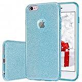 MILPROX iPhone 6s Plus Hülle, Glitzer-Schutzhülle [DREI-Schicht-Hybridstruktur] Slim Kristallklar TPU+ Bling glitzerpapier + Frosted PC Shell, schützende Hülle, kompatibel mit iPhone 6 Plus-Blau