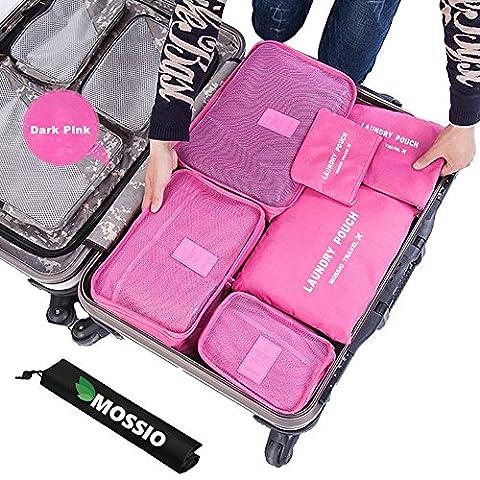 Mossio 7 Set emballage Cubes avec Shoe Bag - Compression Voyage bagages Organisateur (Rose foncé)