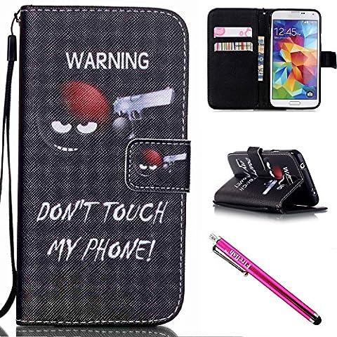 Galaxy S5 Hülle, Flip PU Leder Tasche Bookstyle Cover Case mit Intern Karte Schlitz, Anti-Sturz Stoßfest Abdeckung Schutzhülle, Magnetic Closure mit Standfunktion und Handy Gürtel für Samsung Galaxy S5 i9600