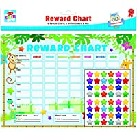 Kids Create 6 x Reward Charts Childrens Jungle Themed Behaviour/Chore Charts with Stickers & Pens by