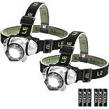 LE Stirnlampen, 4 Helligkeiten zu wahlen, LED Kopflampe, leicht und superhell, ideal für Wandern, Camping, Ausflug, AAA Batterien Inklusive, 2er Pack