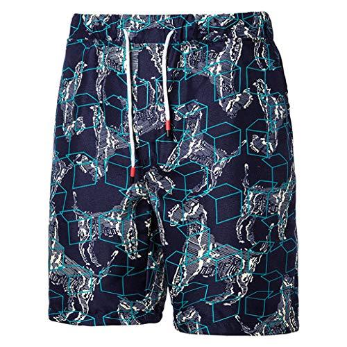 MOTOCO Herren Sommer Casual Shorts Funnky Druck Hosen Übergröße elastische Taille Kordelzug Schwimmen Strand Badehose(3XL,Blau) Corduroy Cropped Pants