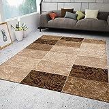 Teppich Wohnzimmer Kurzflor Modern Meliert Kariert Marmor Muster Braun Beige, VIMODA, 80x300 cm