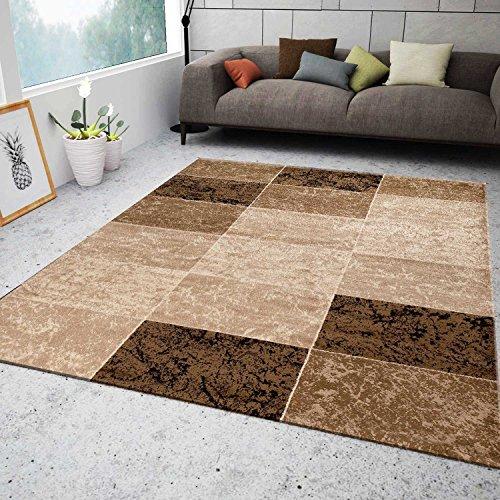 vimoda teppich wohnzimmer kurzflor modern meliert kariert marmor muster braun beige 80x300 cm