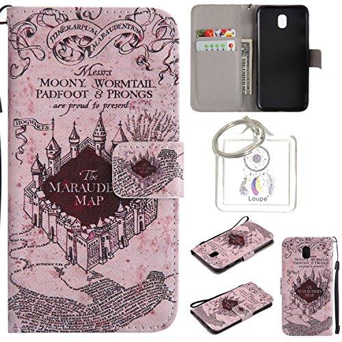 Preisvergleich Produktbild für Galaxy J5 2017 (EU-Modell) PU Wallet Case Schutz Hülle für - Cover Flip Tasche mit Kartenfach in Buch Stil mit Kartenfach Standfunktion Magnetverschluss und Hand Wrist +Schlüsselanhänger (O) (10)