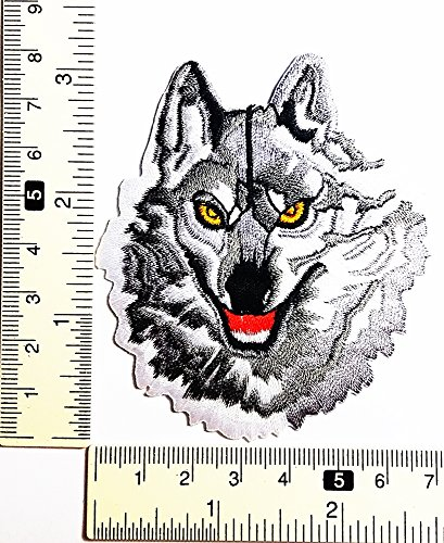 Head Weiß Fox Wild Wolf Motoren Racing Patch Weste/Jacke Biker Patch Motorrad Fahrer Biker Tattoo Jacke T-Shirt Patch Sew Iron on gesticktes Schild Badge (Racing-patch Fox)