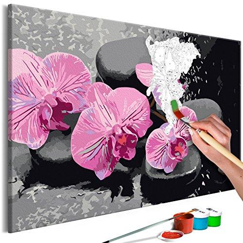 murando - Malen nach Zahlen Blumen Orchidee 60x40 cm Malset mit Holzrahmen auf Leinwand für Erwachsene Kinder Gemälde Handgemalt Kit DIY Geschenk Dekoration n-A-0388-d-a