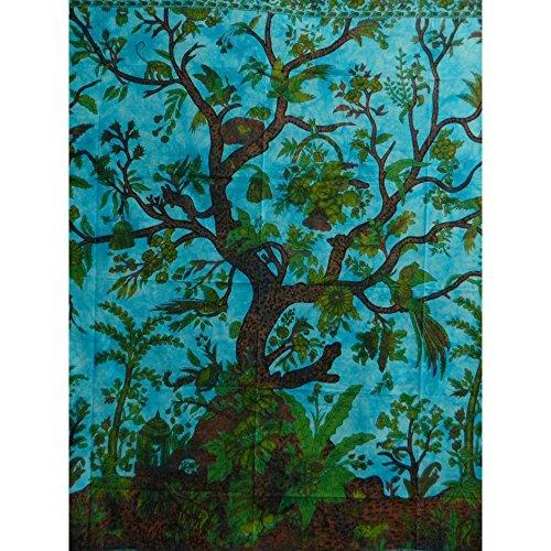 Handicrunch Tagesdecke Lebensbaum türkis blau 240x200cm Vögel Blumen Ontwerp indische Decke Katoen Tie Dye Style (Bilder Irische)