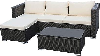 SVITA Queens Poly Rattan Sitzgruppe Couch-Set Ecksofa Sofa-Garnitur Gartenmöbel Lounge Grau, Schwarz Oder Braun
