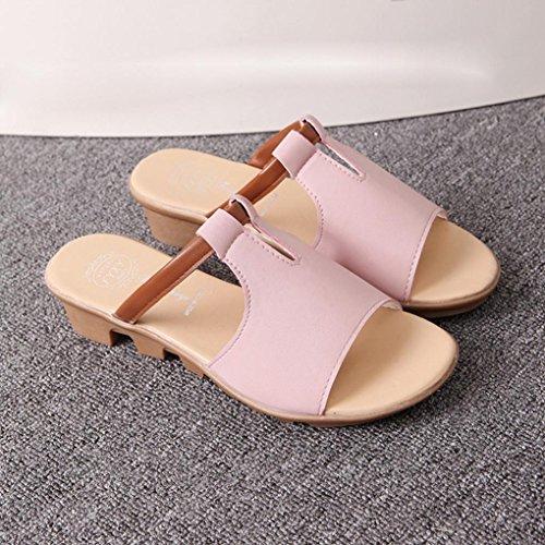 Bescita Cut Out Sandalen Fashion Solid Sommerstrand gleitet Hausschuhe Damenschuhe Rosa