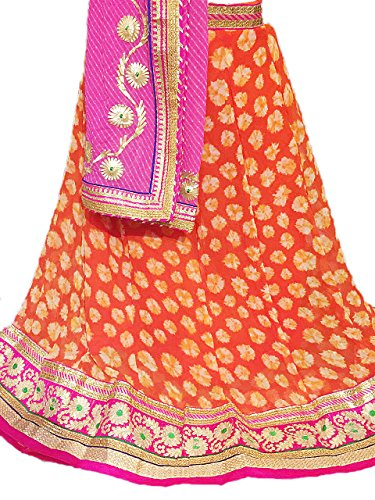 Lehenga Georgte With Heavy Gotta Work Flower Prink Orange Colour & Dupatta...