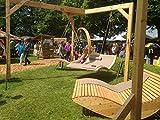 Doppel-Wippliege Querlattung aus Holz, für den Garten und Innenbereich, Saunaliege, Sonnenliege, Gartenliege, Schwebeliege, Relaxliege, Liege, Doppelliege