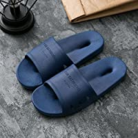fankou Slippers Women Indoor Summer Anti-Slip Home with Lovely Cartoon Couples Home Bath Bathroom Cool Slippers Male Summer,39-40, Dark Blue Hole-Hole Cool Slippers