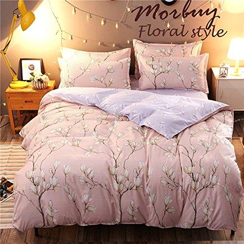 Bettbezug Set, Morbuy Blumen Muster 3 Teilig Bettwäsche 200 x 200cm 100% Polyester Mikrofaser Frisch Stil Gemütlich Printing Bettbezug-Set (Rosa Pfirsichblüte) Jugend-motorrad-jersey