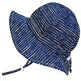 UV-Schutz-Sonnenhut aus Baumwolle fürs Kleinkind (Junge) 50 UPF, Kordelzug verstellbar, zum Verstauen geeignet (Mittel: 6-30 m, Schlapphut: Marine Wellen)