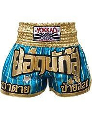 """'yokkao Muay Thai Pantalones Cortos """"yodd Echa, hecha de satén, color azul, tamaño XL (32"""")"""