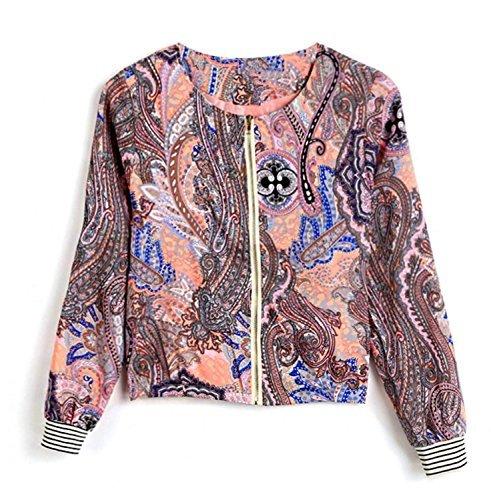 Minetom Retro Damen Jacket Blazer Stehkragen Langärmlig Reißverschluss Flora Blumenmuster ( DE 38 )
