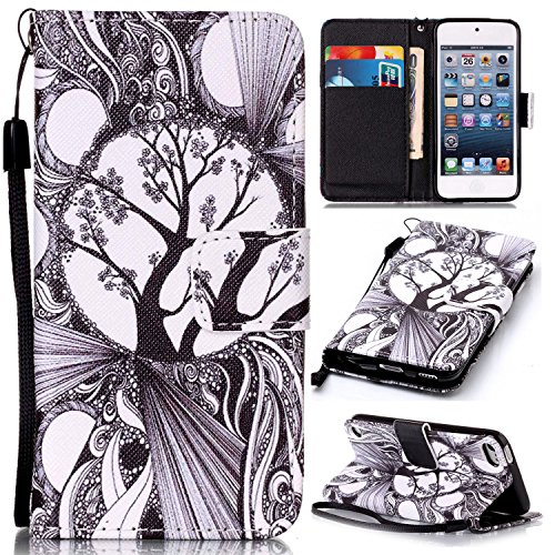 Price comparison product image For Apple iPod Touch 5 / 6 Leather Flip Case Cover, Ecoway Colorful Painted PU Leather Stand Function Protective Cases Covers with Card Slot Holder Wallet Book Design, Soft TPU Silicone Inner Bumper Full Protection Detachable Hand Strap for Apple iPod Touch 5 / 6 - Black and white trees
