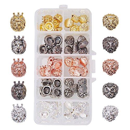 PandaHall Elite 60 Stück Löwenkopf Legierung Perlen, Armband Halskette Connector Charm Perlen für Schmuckherstellung, 5 Farbe, 2 Form (Halskette Perle 60)