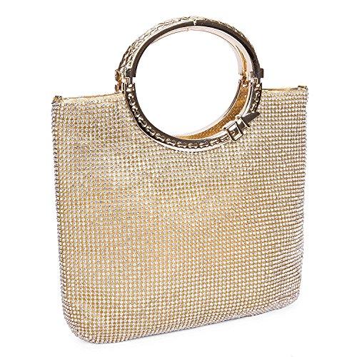 EULovelyPrice Damen Handgemachte Strass Handtasche, Abendtasche Damen Clutch Für Party (Gold) (Handgemachte Handtasche)