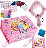 Unbekannt Bastelset _ XL Schmuckkasten / Schatzkiste & Spiegel -  Disney Princess - Prinzessin  - incl. Name - & Schminktasche - Schmuckset mit Mosaiksteinen / Sticke..