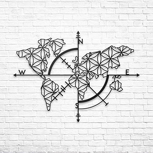 BAUPOR Metall-Weltkarte Wandkunst mit Kompass, Weltkarte, 3D-Wandsilhouette, Wanddekoration, Metall, für Zuhause, Büro, Schlafzimmer, Wohnzimmer, Dekoration, Stilvolle Arbeit (96 x 62 cm)