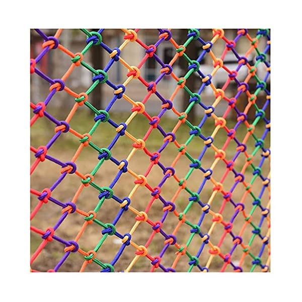 Children's Outdoor Railing Safety Net, Safety Net, Decorative Net Protection Fence Climbing Rope Truck Cargo Trailer Mesh Suitable For Children Toys Pet Outdoor Terrace Balcony Railing Stairs Playgrou SFMND ▲Multi-use Protection Net:Family balcony and railing balcony stairs safety net banister stair anti-cat climbing, anti-high fall and other intensive protection; Wall ,home, theme party hotel, guesthouse, cafe, bookshop, restaurant, decoration,hanging ect. ▲Characteristics of Decoration Net: Soft material, light mesh, multi-layer warp and weft, precise wiring, workmanship; high temperature sunscreen, waterproof; clear lines, anti-slip endurance and anti-wear. ▲ safety net wire diameter 6MM, mesh spacing 6CM. Color: color rope net. Our protective mesh can be customized according to your needs. 4