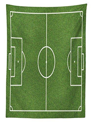 Yeuss Teen Room Decor tovaglia erba campo da calcio, motivo: stadio Game Match Winner sport stampa zona pranzo, cucina, copertura per tavolo rettangolare, verde felce bianco, 132,1x 177,8cm, 60' x 84'(150 x 214 cm)
