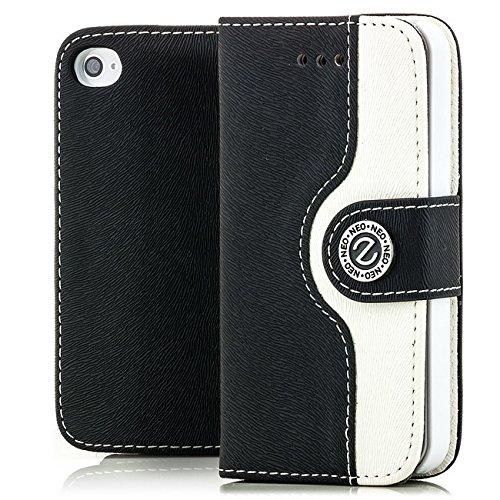 Saxonia Flip Case Tasche Apple iPhone 4 4S Hülle Schutzhülle Elegante Handytasche mit Kartenfach Standfunktion Farbe Blau-Weiß Schwarz-Weiß