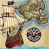 Creative Conversion 16fils Joyeux anniversaire Pirate de carte Serviettes en papier, Marron/vert...