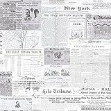 BHF 2604-21266 - Carta da parati, con motivo giornale vintage, colore: grigio